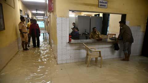 Floodwater gushed inside a police station in Mumbai. (KK Choudhary/TOI, BCCL, Mumbai)