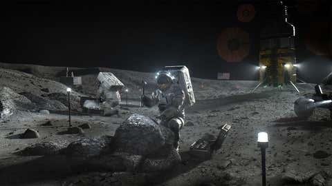 Artists' representation of astronauts on Moon.