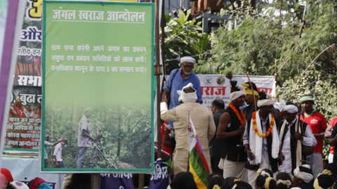 A large meeting to demand the proper implementation of the Forest Rights Act was held in Raipur in November 2019. Tribals from across the states walked to the state capital. (Indra Sain, Raipur / Oxfam India)