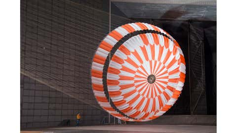 The enormous supersonic parachute for the Mars 2020 mission undergoes testing at the world's largest wind tunnel at NASA's Ames Research Center. (NASA/JPL-Caltech/Ames)