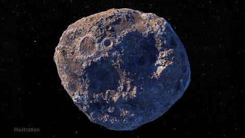 This illustration represents the metal-rich asteroid Psyche located in the main asteroid belt between Mars and Jupiter.  (NASA / JPL-Caltech / ASU)
