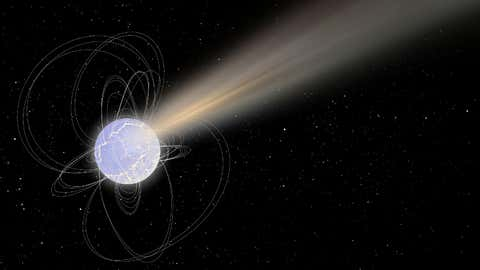 Artist's impression of SGR 1935+2154, a highly magnetised stellar remnant, also known as a magnetar. (ESA)