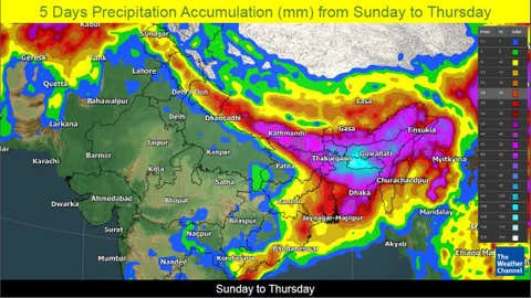 Rainfall accumulation forecast over East and Northeast India for the next five days from Sunday, May 2 to Thursday, May 6. (TWC Met Team)