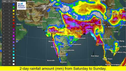 2-day rainfall amount (mm) from Saturday to Sunday. (TWC Met Team)
