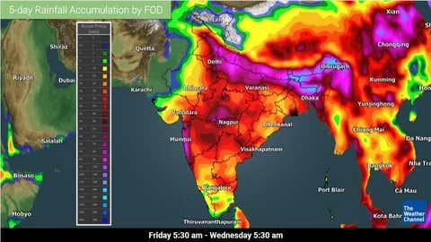 Total rainfall accumulations across India. (TWC Met India)