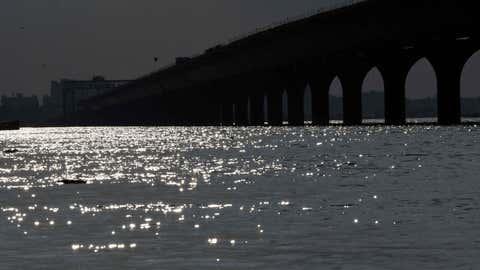 A view of swollen Ganga river. (IANS)