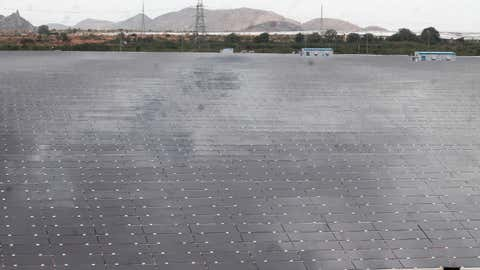 File photo: Solar panels lined-up at the world's largest solar park at Thirumani village of Pavagada taluk in Tumakuru district.(Mohammed Asad/BCCL Bengaluru)