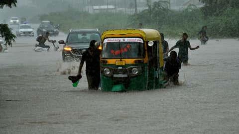 Heavy rains drenched several parts of Surat, Gujarat on September 7. (Gaurang Joshi/TOI, BCCL, Surat)