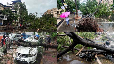 Heavy rains and strong winds induced by Cyclone Tauktae cause several trees to fall in Vashi, Navi Mumbai on Monday evening. (KK Choudhary/TOI, BCCL, Mumbai)