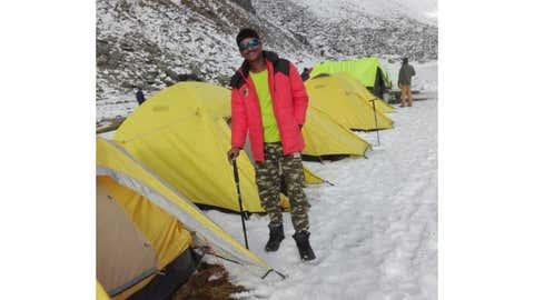 Vinod Mankar at a trekking camp site. (Vinod Mankar)