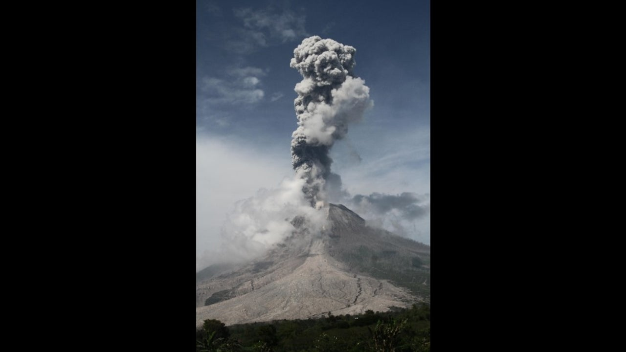 Mt. Sinabung erupted for the first time on Saturday, when the volcano spewed a column of volcanic ash up to two km high.