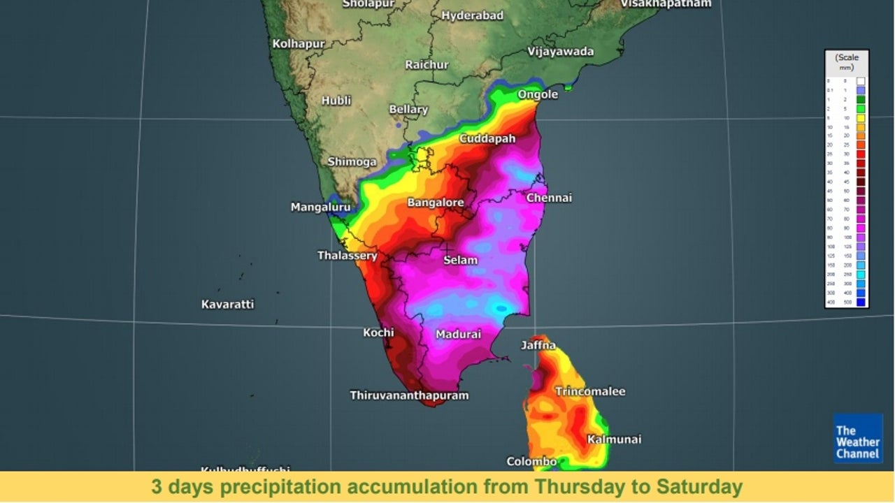 Heavy rainfall has started to impact Tamil Nadu with Vedaranyam in Nagapattinam district receiving a whopping 200 mm rainfall in the last 24 hours till Thursday morning.