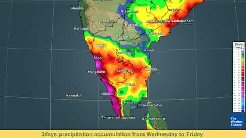 3 days precipitation accumulation from Wednesday to Friday. (TWC Met Team)