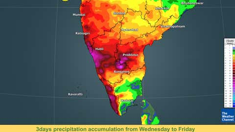 3 days of precipitation accumulation from Wednesday to Friday.  (TWC Met Team)