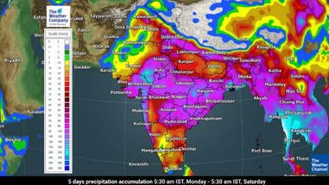 5 days precipitation accumulation 5:30 am IST, Monday - 5:30 am IST, Saturday. (TWC Met Team)