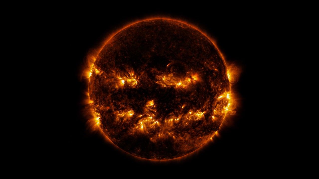 NASA Shares Spooky Image of Jack-O'-Lantern Sun