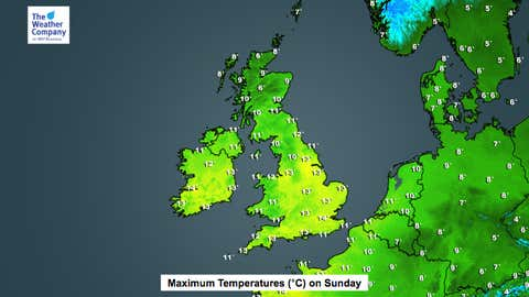 Temperatures will be well above normal on Sunday