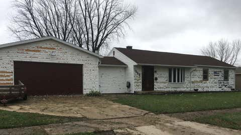 Hail damage seen on a house in Janesville, Wis. after a severe storm came through the area Wednesday night, May 2, 2018. (JennaMiddaugh/WISC-TV News 3)
