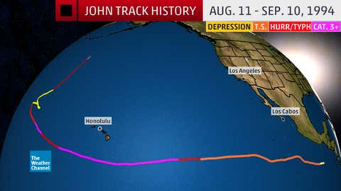 Track history of Hurricane/Typhoon John in August and September 1994. John was first an eastern/central Pacific hurricane, then became a typhoon when crossing the International Date Line, then became a hurricane again after crossing back over the date line one final time.