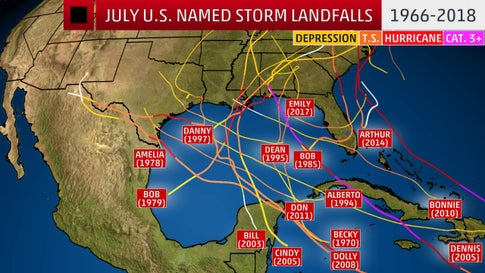 Where July Named Storms Have Made a U.S. Landfall in the Modern Satellite Era