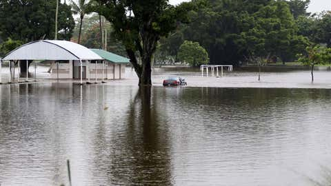Hilo's Bayfront and soccer field was flooded on Thursday, August 23, 2018, as Hurricane Lane delivered heavy rains, road closures and landslides to the Big Island. (Tim Wright/Honolulu Star-Advertiser)