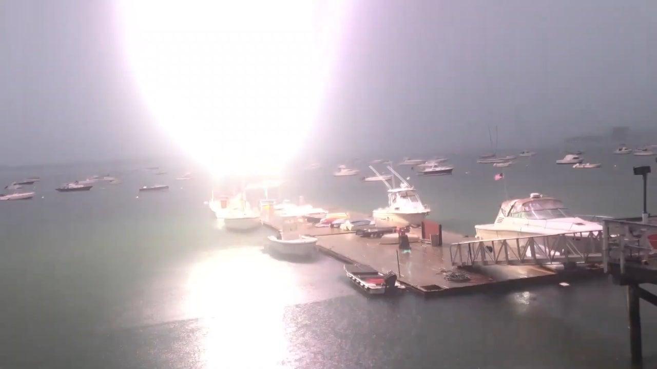 Sparks Fly as Lightning Strikes Sailboat in Boston Harbor