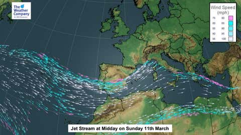 The jet stream will be positioned to the south of the UK by Sunday