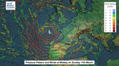 Low pressure will be in control on Sunday