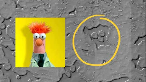 Astronomers at the University of Arizona's Lunar and Planetary Laboratory shared the image on Twitter last week. The geological formation on Mars looks like Beaker the Muppet. (NASA/JPL/University of Arizona)