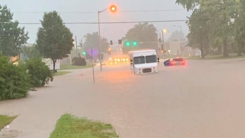Crews work to rescue victims who were trapped by rising water on Monday, July 22, 2019, in Maryland Heights, Missouri. (Maryland Heights Fire Protection District/Facebook)