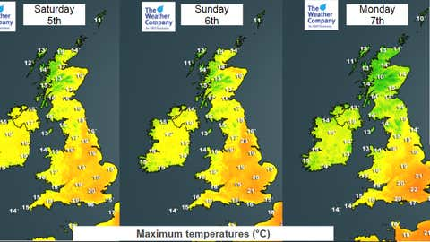 Weekend temperatures should rise well into the 20s C for many places