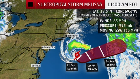 Subtropical Storm Melissa Forms Off New England Coast