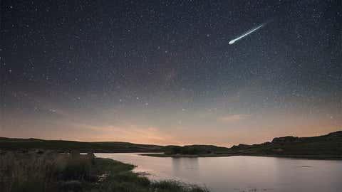 Big Perseid shooting star in A Veiga, Galicia, Spain.