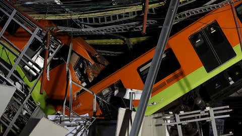 At least 23 people were killed when a section of Line 12 of the subway collapsed in Mexico City on Monday, May 3, 2021. (AP Photo/Marco Ugarte)