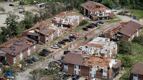 FILE - In this May 23, 2019 file. Photo, tornado damage is seen in Jefferson City, Mo. Eight years to the day after a devastating tornado killed 161 people in Joplin, another big twister ripped through another Missouri community, Jefferson City, but with a far different result: No deaths, no serious injuries. The two storms share a May 22 date, the same state, and both happened in towns of similar size. Both tornadoes ravaged residential areas and business districts. (AP Photo/Jeff Roberson, File)
