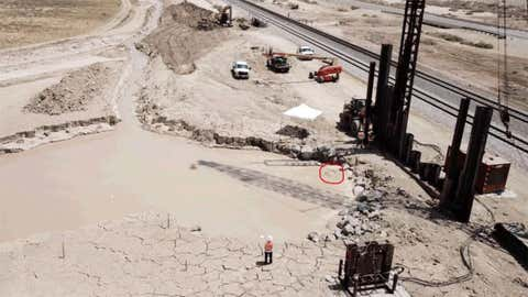 Union Pacific Railroad is leading efforts to prevent the geyser from reaching the tracks and the highway. Efforts including trying to drain water from the mud basin and building a steel wall. (Imperial County)