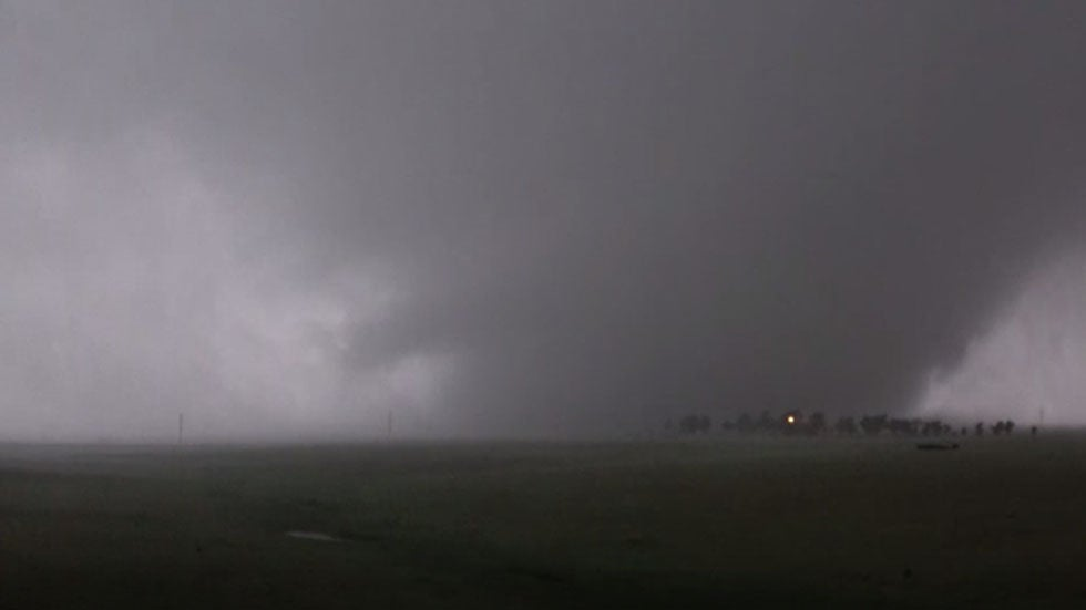Tornadoes battered the Oklahoma, Texas border overnight, forcing residents to take cover.