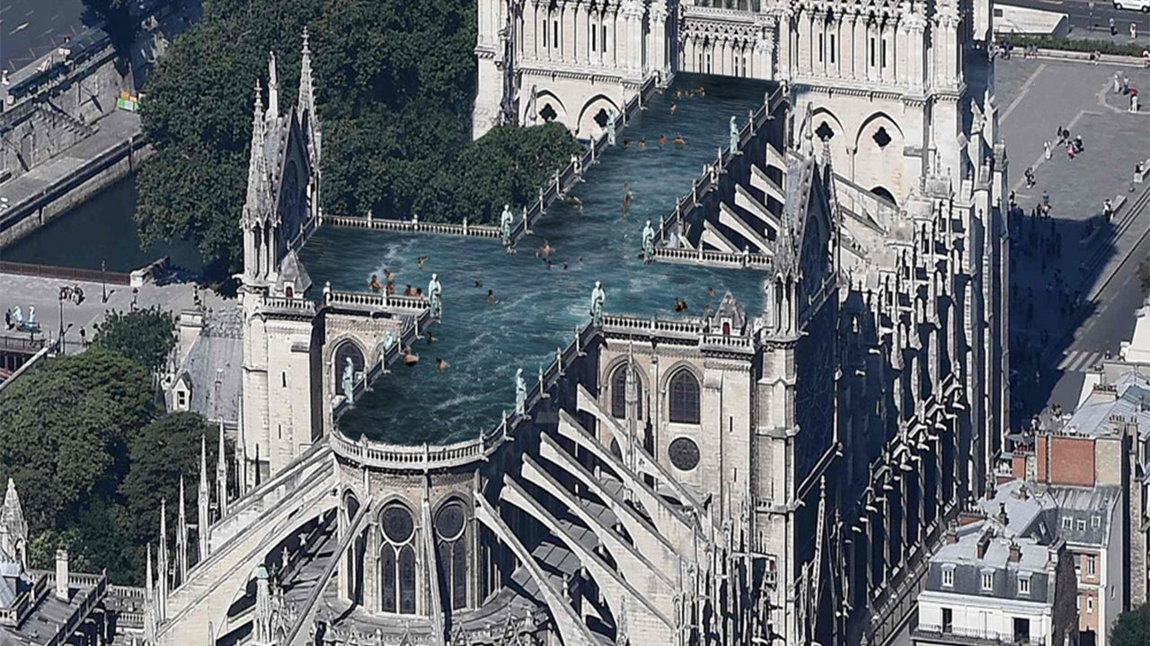 Architect Proposes Rooftop Pool on Notre Dame Cathedral