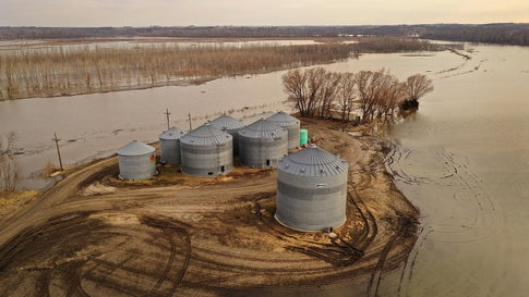 """Floodwater recedes from around grain silos on March 23, 2019 near Nemaha, Nebraska. Damage estimates from flooding in Nebraska top $1 billion. Midwest states are battling some of the worst flooding they have experienced in decades as rain and snow melt from the recent """"bomb cyclone"""" that has inundated rivers and streams. At least three deaths have been linked to the flooding. (Scott Olson/Getty Images)"""