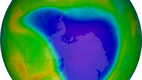 This is a false-color view of total ozone over the Antarctic pole on Monday, Nov. 5, 2018. The purple and blue colors are where there is the least ozone, and the yellows and reds are where there is more ozone. (NASA Ozone Watch)