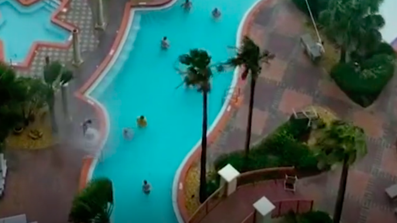 Hotel guests were in the pool when it happened