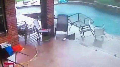 North Texas Storms Send Patio Furniture Careening into Pool