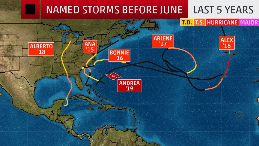 Andrea Marks an Early Start to Hurricane Season for the Fifth Year in a Row