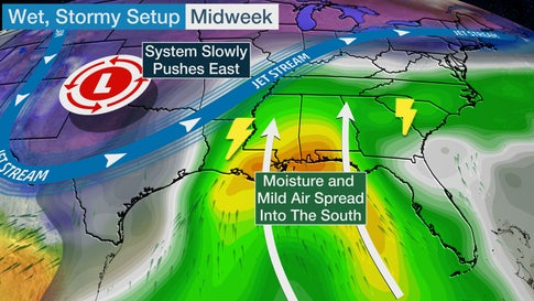 Multiday Threat of Severe Thunderstorms and Heavy Rain to Hit the South This Week