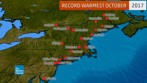 Locations in the Northeast (with at least a 65-year period of record) that either tied or set new record warm Octobers in 2017. (Data: SERCC)