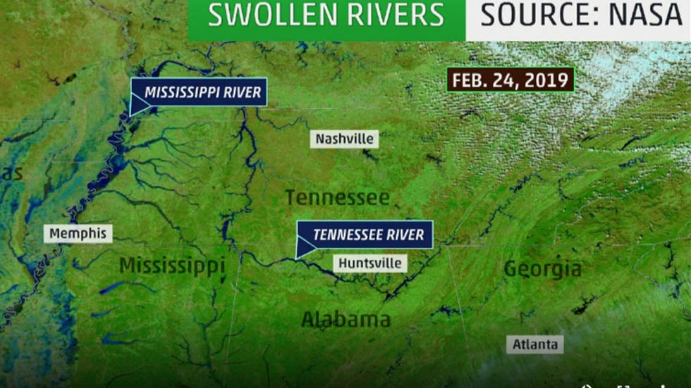 South's Flood-Swollen Rivers Seen From Space