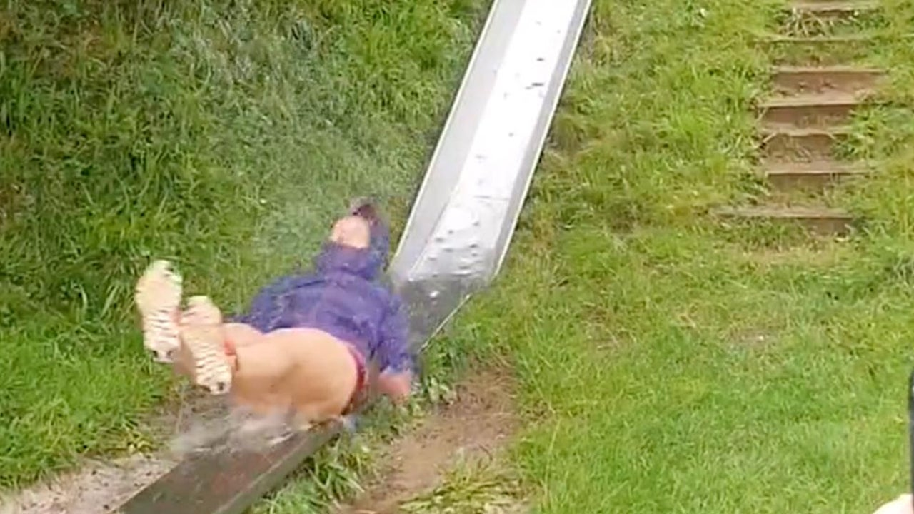One Slippery Slide in the U.K. Rain