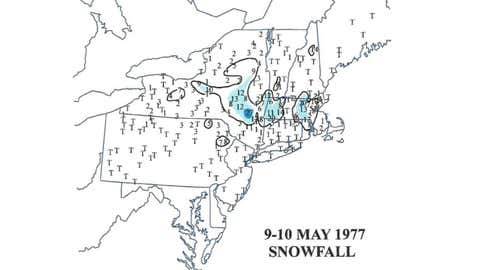 """Snowfall reports from the May 9-10, 1977, late-season storm. (From Kocin and Uccellini, """"Northeast Snowstorms, Volume II: The Cases,"""" American Meteorological Society)"""