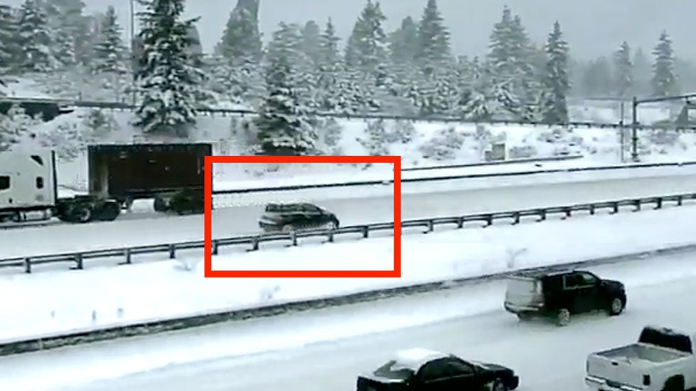 Watch Driver Go Wrong Way on Snowy Interstate Near Seattle