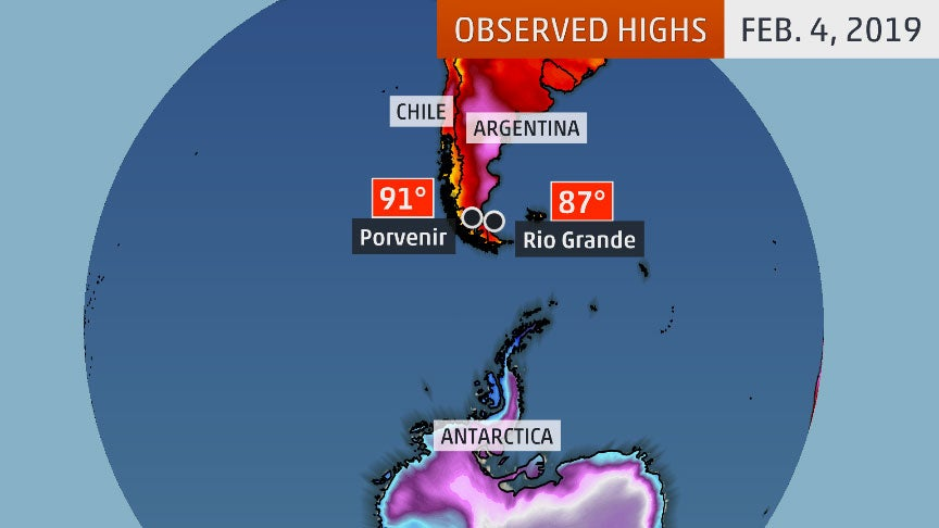 Tip Of South America Map.Southern Tip Of South America Hits 90 Degrees Sets Record For The